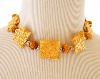 Carved Bone Choker Necklace, Carved Bone Beads, Beaded Necklace, Boho Chic, Adjustable Necklace, Statement Necklace, Costume Jewelry, Choker
