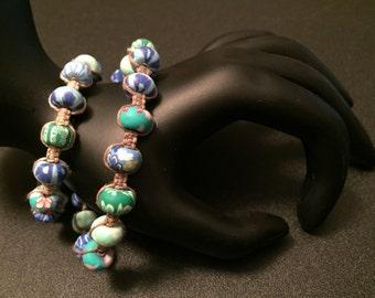 Beaded Wrap Bracelet - Natural Hemp Wrap Bracelet, Polymer clay Beads, 2x Wrap Bracelet, Macrame Bracelet, Knotted Hemp Bracelet