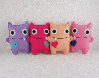 Girls Felt Mini Monsters, Adopt A Monster, Monster Party, Felt Monsters, Monster Plushie, Monster Themed Party, Monster Party (Set of 4)