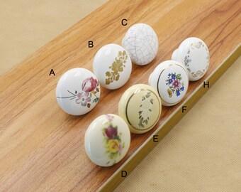 Retro Flower Ceramic Knob /Dresser Knob Drawer Pull Handle / Ceramic Knob / Cabinet Knobs / Kitchen Door Knob Furniture Hardware  (XMHRJ044)