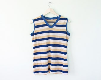 70s Striped Muscle Tank Tee Sears Blue Tan 1970s Cotton blend Perma Prest V neck