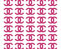 30 CHANEL Stickers Set, Vinyl Decals CHANEL, logo stickers Chanel sign, chanel envelope seals, chanel wall, CC decals, coco chanel decor