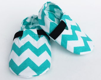 Baby Shoes, Crib Shoes, Baby Booties, Baby Boy Shoes, Baby Boy Booties, Handmade Baby Booties, Sea Green Chevron Loafers.