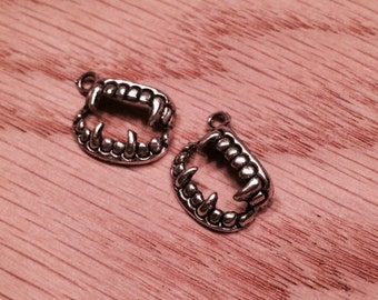 Set of 2 Fangs Teeth Silver Charms One Sided Nickel Free Alloy