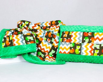 Baby Quilt Blanket, Patchwork, Overlay, Throws, Pillow, Set Fox, Green, Minky, Light Blanket, stroller, buggy, crib baby quilt  handmade