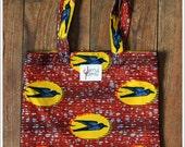 Tote Bag Hirondelles orange en Wax