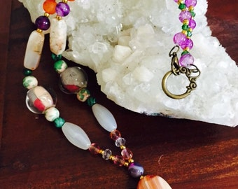 Carnelian, amethist crystal and glass neclace