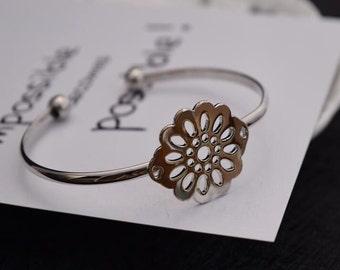 flower cuff bracelet charm bracelet silver plated finding