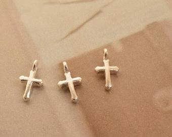 3 pcs sterling silver tiny cross charm pendant , YQ1
