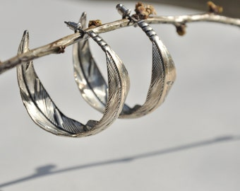 vintage Hoop feather leaf silver earrings