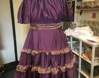Bohemian, ruffled, gypsy, layered, asymetrical, dress