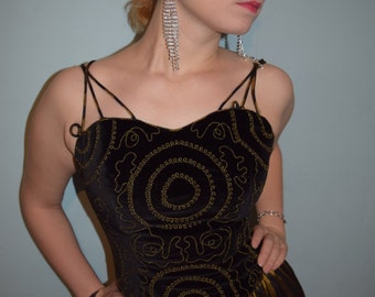 vintage 80s prom dress black and gold