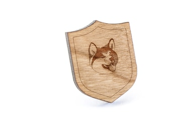 Akita Lapel Pin, Wooden Pin, Wooden Lapel, Gift For Him or Her, Wedding Gifts, Groomsman Gifts, and Personalized