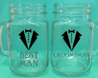 Best Man And Groomsman-Mason Jar Mugs