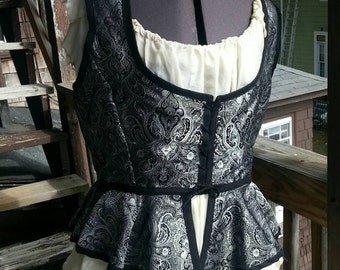 Renaissance Pirate Silver and Black Bodice/Corset