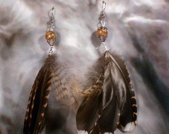 Tiger eye and Woodcock feather earrings