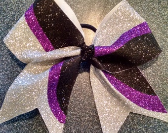 Purple, black and silver Bow