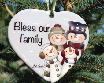Bless Our Family Ornament, Snowman Heart Ornament, Porcelain Family Ornament, Family of 4 Ornament, Christmas Ornament, Stocking Stuffer