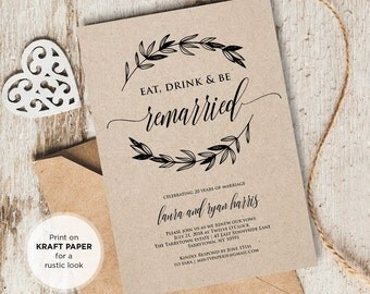 Vow Renewal Invitation Template, Eat Drink Be Married, Instant Download, Wedding Anniversary, Renew Vows, Editable PDF Template, DIY Kraft