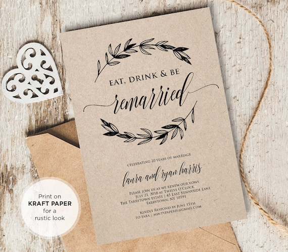 Vow Renewal Invitation Template Eat Drink Be Married Instant