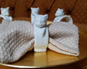 White Porcelain Cat Napkin Rings, Set of 4