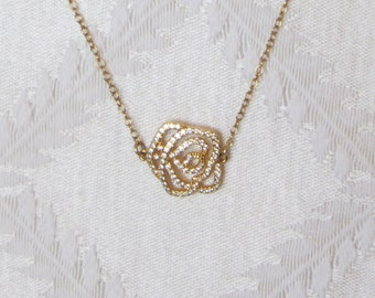Gold Filled Necklace with Gold & Crystal Studded Rosette Charm, SN-117