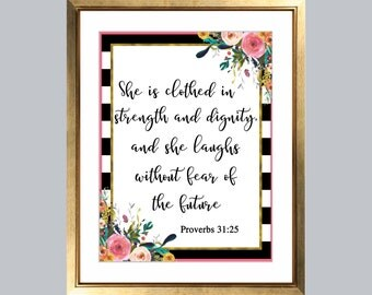 Proverbs 31:25, Christian, Nursery Art, Scripture Print, Wall Art Print, Calligraphy Bible Verse, She is Clothed in Strength and Diginity