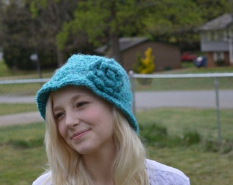 Crocheted Blue Cloche with rose