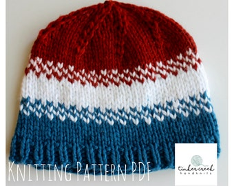 Baby Hat Knit Patterns/Olympics Baby Hat Pattern/Knitting Pattern PDF/ Instant Download/PDF Pattern/Red White and Blue Hat Knitting Pattern