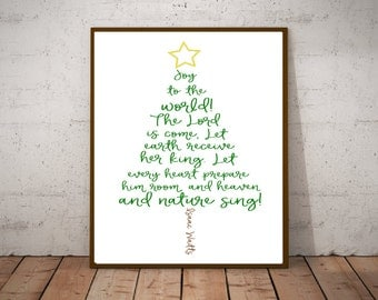 Joy to the World - The Lord Is Come - Let Earth Receive Her King - Christmas Hymn Lyric Art - Christmas Holiday Decorations - Revelation