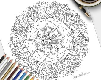 Printable Adult Colouring Page First Light