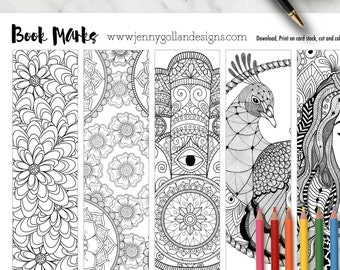Adult Colouring Page Colouring Bookmarks