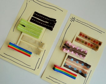 Toddler barrettes-- fourteen simple ribbon barrettes (2 each of seven colors)