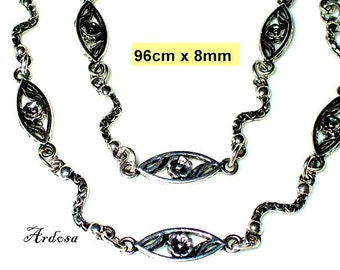 1 handmade necklace, Tibetan silver, without closing 96 cm (K203. 8.1)