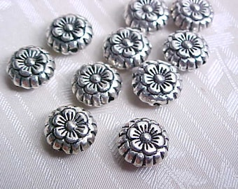 8mm Daisy Beads Daisy Flower Beads Metal Flower Beads Pewter Flower Beads Silver Flower Beads Macrame Beads Large Hole Beads (10)
