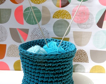 Crochet basket – Teal