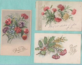 7 cards postcards old/eyelets/carnations/old postcard