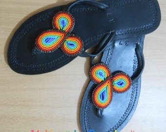 Maasai Beaded Sandals, African Beaded Sandals, Kenyan Beaded Sandals, african handmade sandals