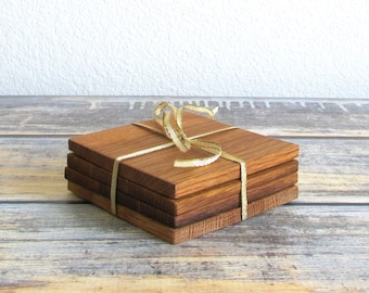 Wood Coasters For Drinks - Wooden Coasters - Wine Barrel Gifts - Coaster Set - Unique Drink Coasters - Groomsmen Gift - Man Cave Bar - A114