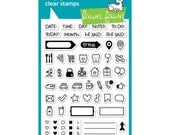 Lawn Fawn Clear Photo-polymer Stamp - Plan On  It - 4''x6'' - Planner Stamps/ Calender Stamps/ Date Stamp/ Journal Stamps/ Icon Stamps