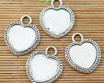 6pcs tibetan silver 2side heart shaped cameo cabochon settings in 16x18mm EF1749