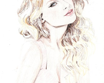 Taylor Swift Coloured Pencil Drawing Fine Art Portrait Print Signed by Artist