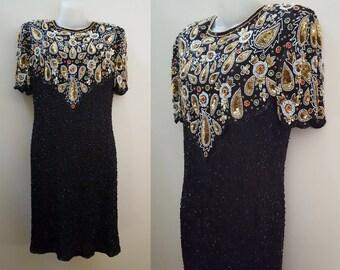 Vintage Beaded Dress // 1980s Vintage Fully-Beaded Silk Dress // Sequin Bead Evening Dress