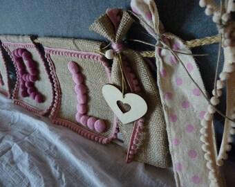 Romantic Baby Girl Banner ,Baby Girl Wall decor, Pink Garland, Pom Pom Banner, Baby Shower Banner, Girl Nursery Decor, Girly Garland