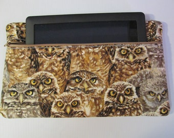 """Zippered Electronics or E-Reader Case - Quilted Pouch  - """"Owl """" #55678900"""
