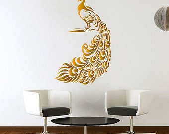 Peacock Golden Wall Sticker Birds Decal Art Livingroom Vinyl Mural Graphics  Hall Part 87