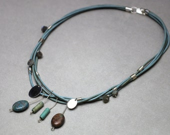 Turquoise necklace - silver and stone pendants; Silver, labradorite, jasper and turquoise beads
