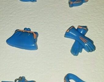 Realistic 6 pieces Blue Ladies Travel Set