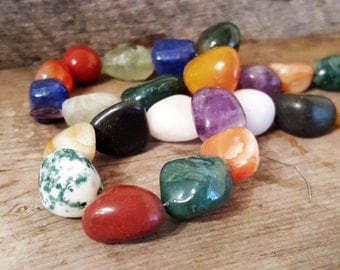 Natural tumbled stone beads for you, carnelian, tree agate, banded agate, amethyst. lapis, loose beads nugget shape  28 beads