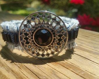 Denim and Marcasite Frayed Bracelet with Black Bugle Beads
